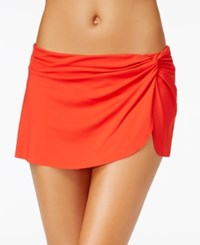 Anne Cole Solid Sarong Swim Skirt Women's Swimsuit Lipstick Red