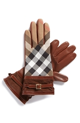 Burberry 'House Check' Gloves Saddle Brown