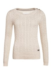 Superdry New Croyde Cable Crew Neck Jumper Cream