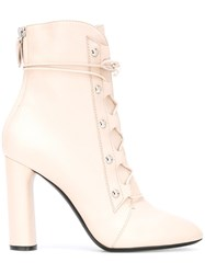 Casadei Lace Up Ankle Boots Pink Purple