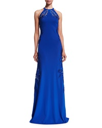 Roberto Cavalli Leaf Embellished Open Back Halter Gown Blue