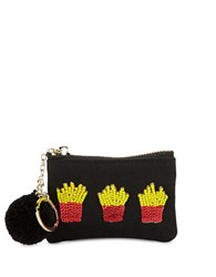 Bow And Drape French Fry Embellished Mini Pouch Black