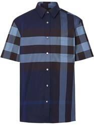 Burberry Check Short Sleeve Shirt Blue