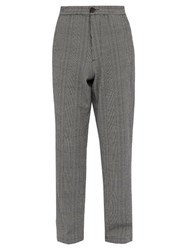 Oliver Spencer Checked Cotton Blend Seersucker Trousers Blue