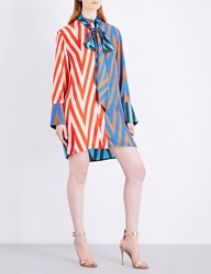 Diane Von Furstenberg Oversized Silk Twill Shirt Dress Odeon Chevron Soft Pink