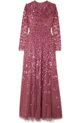 Needle And Thread Rosmund Sequined Tulle Gown Magenta