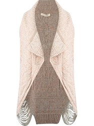 Cecilia Prado Open Front Knitted Waistcoat Nude And Neutrals