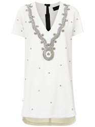 Andrea Bogosian Strass Embellished T Shirt Dress White