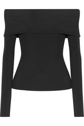The Row Derian Off Shoulder Stretch Jersey Top Black