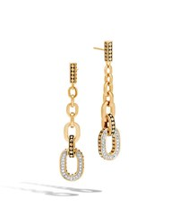 John Hardy Dot 18K Gold Long Link Earrings With Diamonds