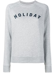 Holiday Logo Cotton Sweatshirt Grey