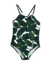 Milly Minis Palm Print One Piece Crossback Swimsuit Size 4 7 Multi