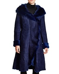 Maximilian Hooded Shearling Coat With Toscana Collar Parliament Blue