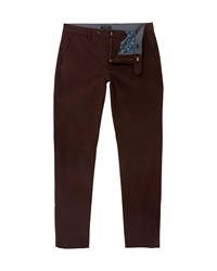 Ted Baker Rustler Slim Fit Trousers Dark Red