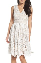 Maggy London Women's Lace Fit And Flare Dress White
