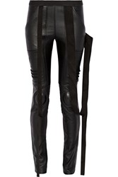 Rick Owens Jersey Paneled Leather Skinny Pants Black