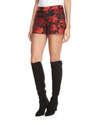 Alice Olivia Marisa Floral Jacquard Shorts Black Red