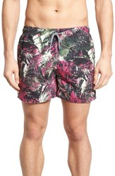 Ted Baker Men's London Spencer Tropical Leaf Print Swim Trunks Pink