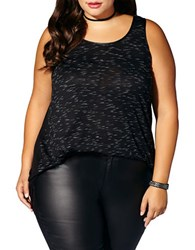 Mblm By Tess Holliday Plus Faux Leather Accented Hi Lo Top Black