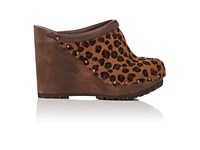 Chloe Women's Haircalf Platform Wedge Clogs Tan Black Brown