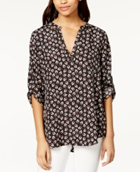 Maison Jules Roll Tab Sleeve Floral Print Blouse Only At Macy's