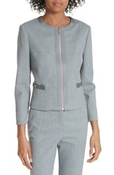 Ted Baker London Nadae Cropped Textured Jacket Mid Grey