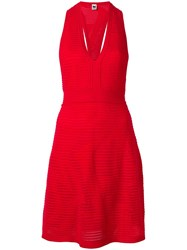 M Missoni V Neck Fitted Dress Red