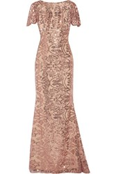 Marchesa Notte Sequined Tulle Gown Pink