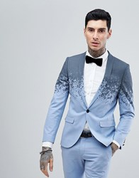 Noose And Monkey Super Skinny Suit Jacket In Print Blue