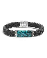 John Hardy Men's Sterling Silver Classic Chain Station Bracelet With Turquoise Turquoise Black