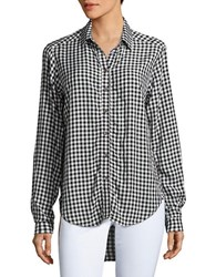 Velvet By Graham And Spencer Checked Long Sleeve Casual Button Down Shirt Black