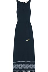 Michael Michael Kors Miura Printed Stretch Jersey Maxi Dress Navy