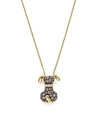 Bloomingdale's Brown And White Diamond Puppy Pendant In 14K Yellow Gold 17 Brown White