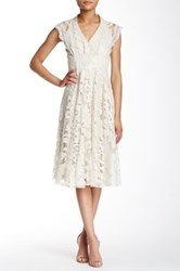 Eva Franco Marcel Lace V Neck Dress Beige