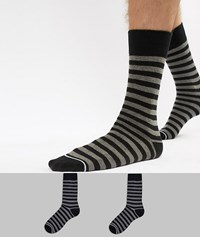 Selected Homme Stripe 2 Pack Socks With Contrast Heel Black