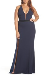 Dress The Population Lana Plunging Strappy Shoulder Gown Midnight Blue