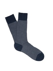 Pantherella Fabian Herringbone Cotton Blend Socks Blue