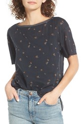 Treasure And Bond Women's Relaxed Woven Tee Navy India Ink La Fleur