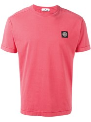Stone Island Logo Patch T Shirt Pink Purple