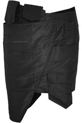 Ronald Van Der Kemp Asymmetric Silk Taffeta Mini Skirt Black