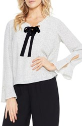 Vince Camuto Women's Elegant Speckles Bell Sleeve Blouse Pearl Ivory