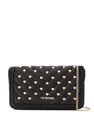 Love Moschino Heart Studs Quilted Crossbody Bag Black