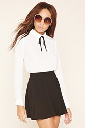 Forever 21 Self Tie Collar Blouse