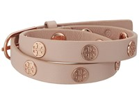 Tory Burch Double Wrap Logo Stud Bracelet Light Oak Rose Gold