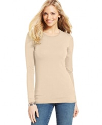 Style And Co. Basic Long Sleeve Tee Pink Bliss