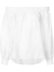 Elizabeth And James Textured Off The Shoulder Top Women Nylon Polyester Rayon L White