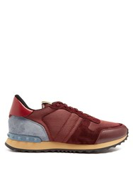 Valentino Rockrunner Low Top Mesh And Suede Trainers Burgundy