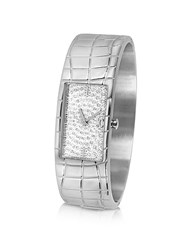 Just Cavalli Circum Silvered Dial Stainless Steel Large Cuff Watch