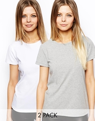 Asos T Shirt With Crew Neck 2 Pack Save 20 Greywhite