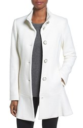 Kensie Women's Single Breasted Ruffle Hem Coat Ivory